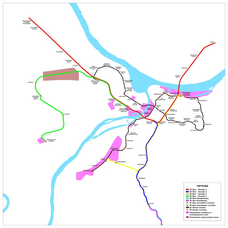 The planned BG:train lines